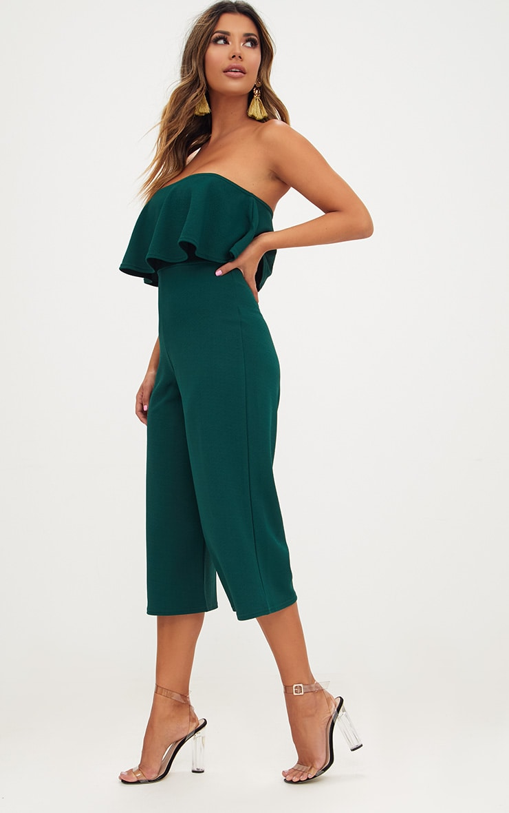 Emerald Green Bardot Double Layer Culotte Jumpsuit 4
