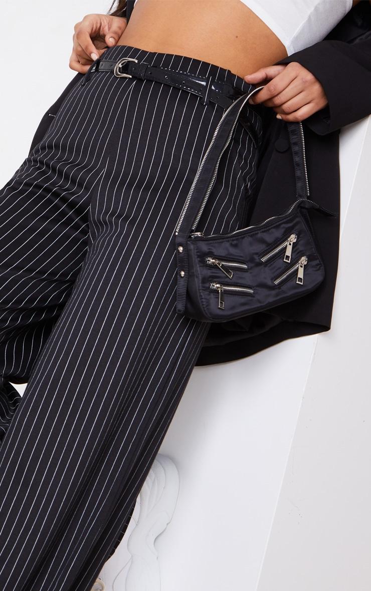 Black Pinstripe Wide Leg Belted Pants 5