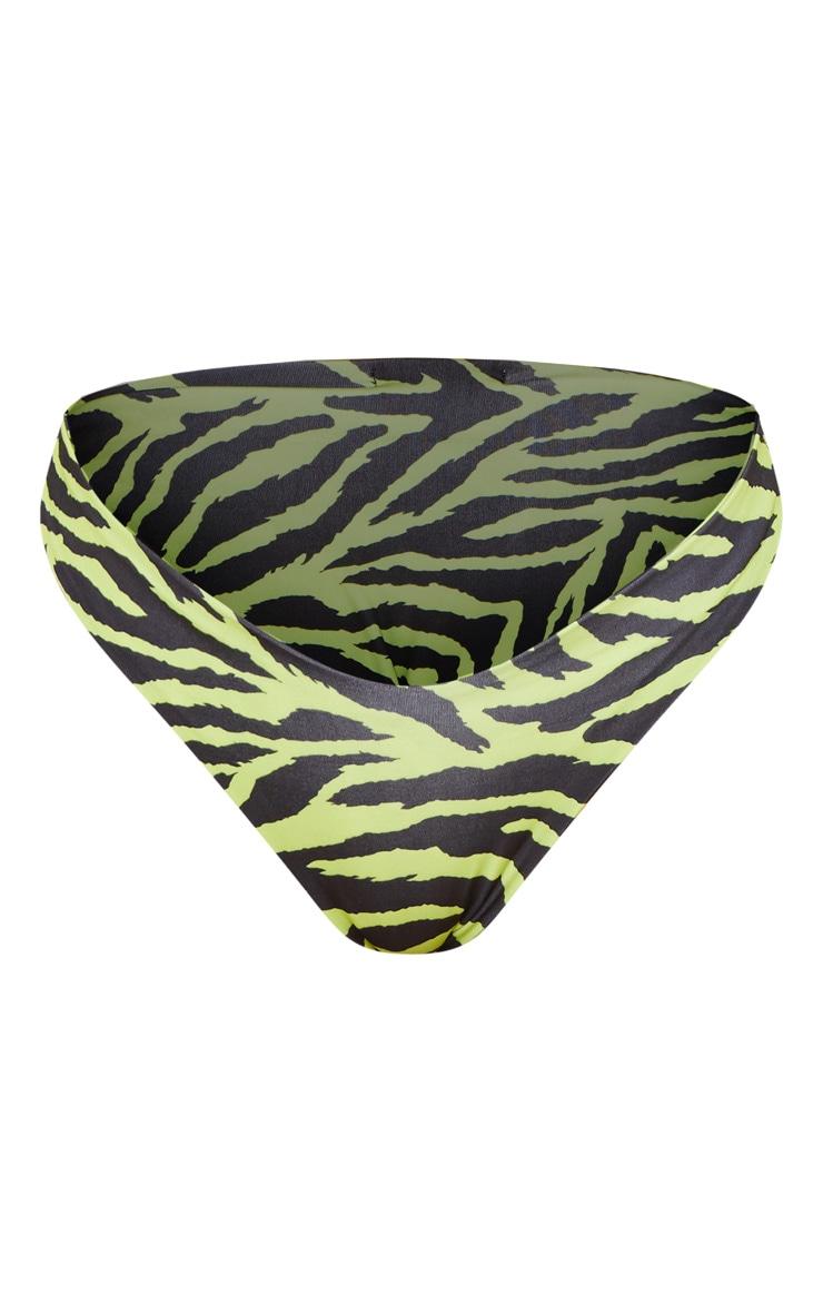 Neon Lime Zebra V Front Brazilian Bikini Bottom 3