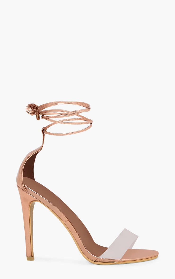 Rose Gold Clear Strap Ankle Tie Heels 3