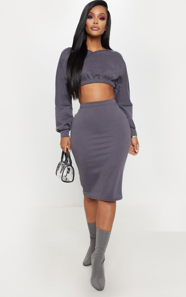 Shape Charcoal Sweat Midi Skirt  1