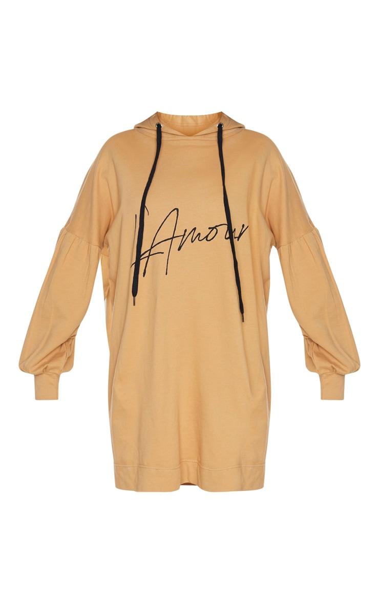 Camel Lamour Pleated Sleeve Hoodie Jumper Dress 3