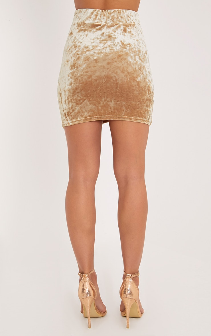 Elettra  Champagne Crushed Velvet Side Ruched Mini Skirt  4