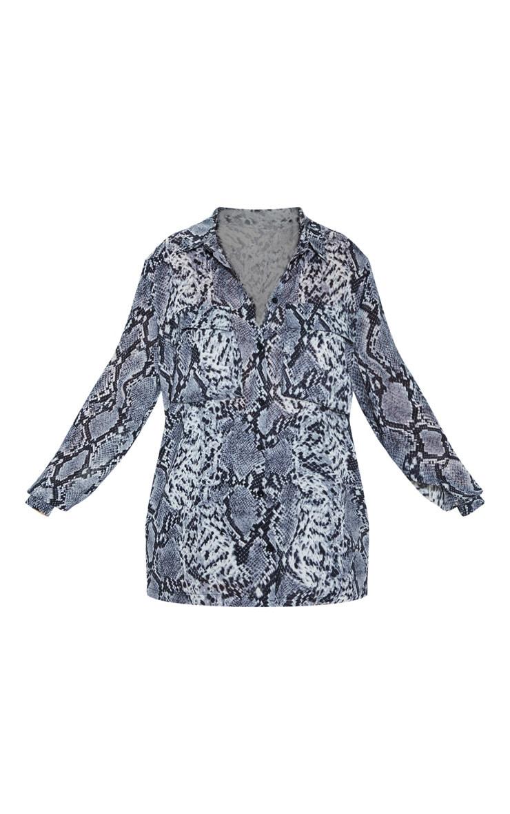Grey Snake Print Oversized Chiffon Shirt 3