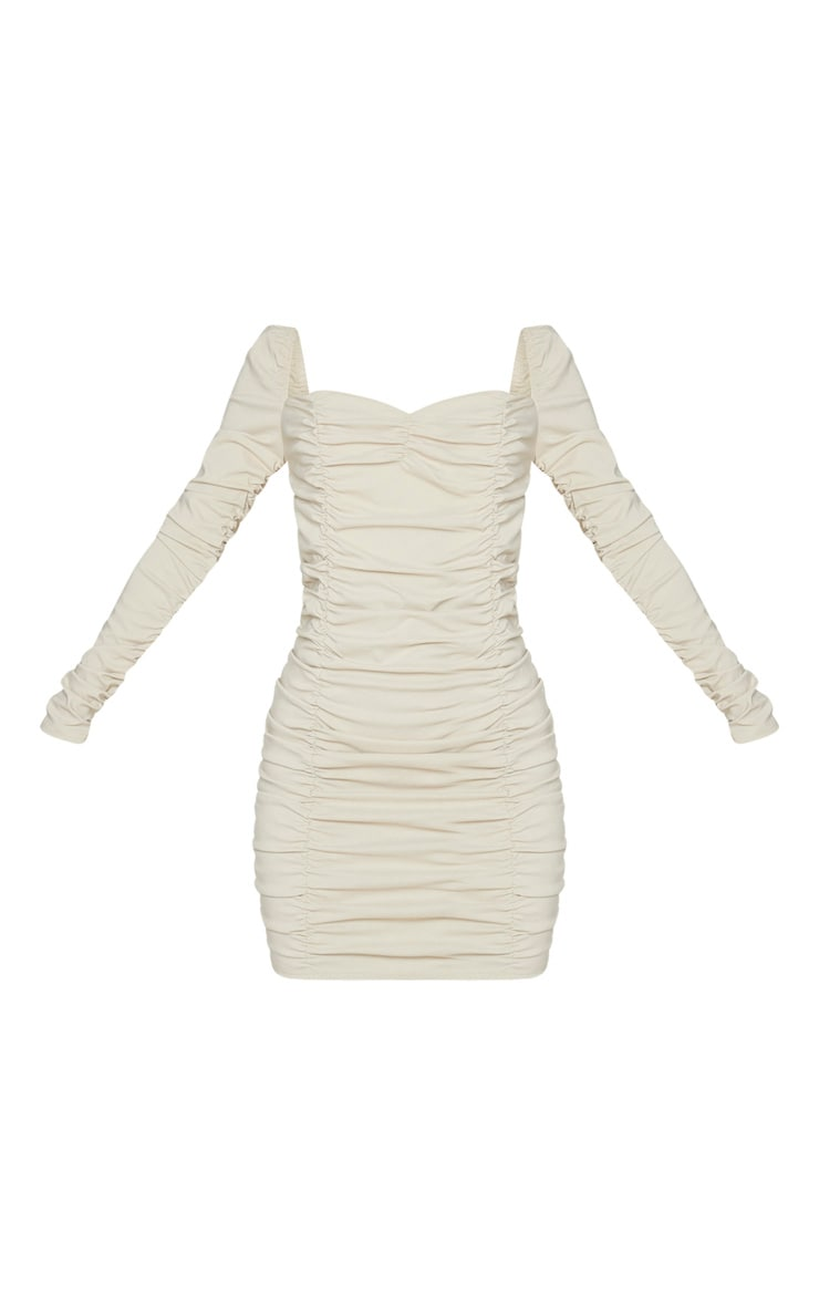 Nude Woven Stretch Extreme Ruched Bodycon Dress 5