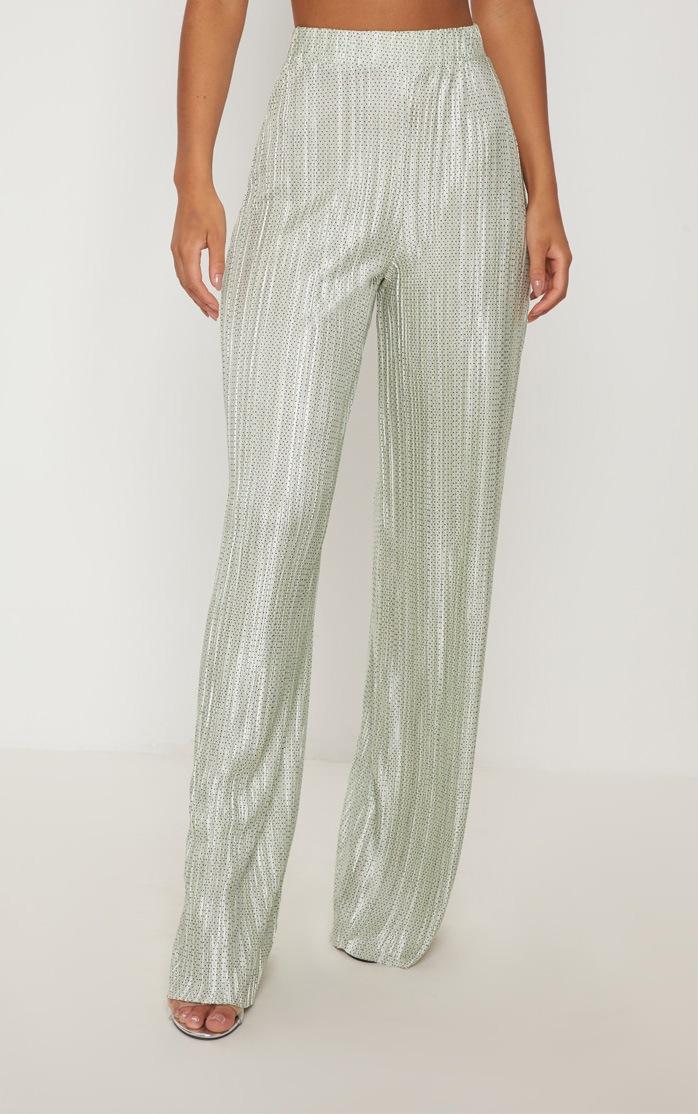 Green Plisse Polka Dot Wide Leg Trouser 2