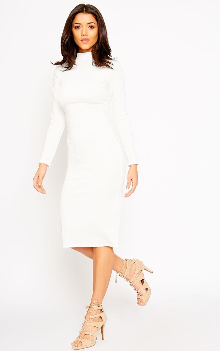 Freja Ivory Premium Ribbed Midi Dress 3