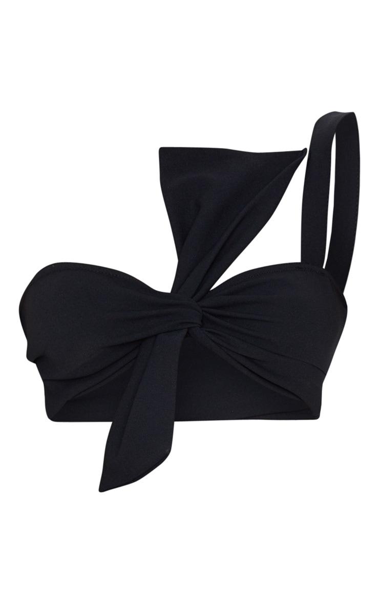 Black Crepe Bow Detail Bralet 3