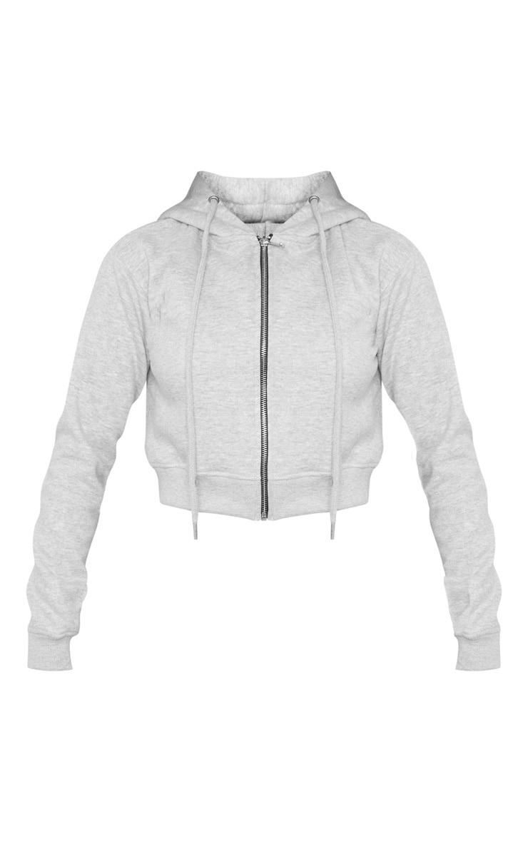 Grey Crop Zip Hoodie 3