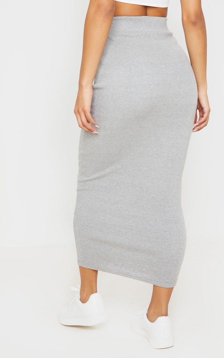 Grey Heavy Rib Bodycon Maxi Skirt 4