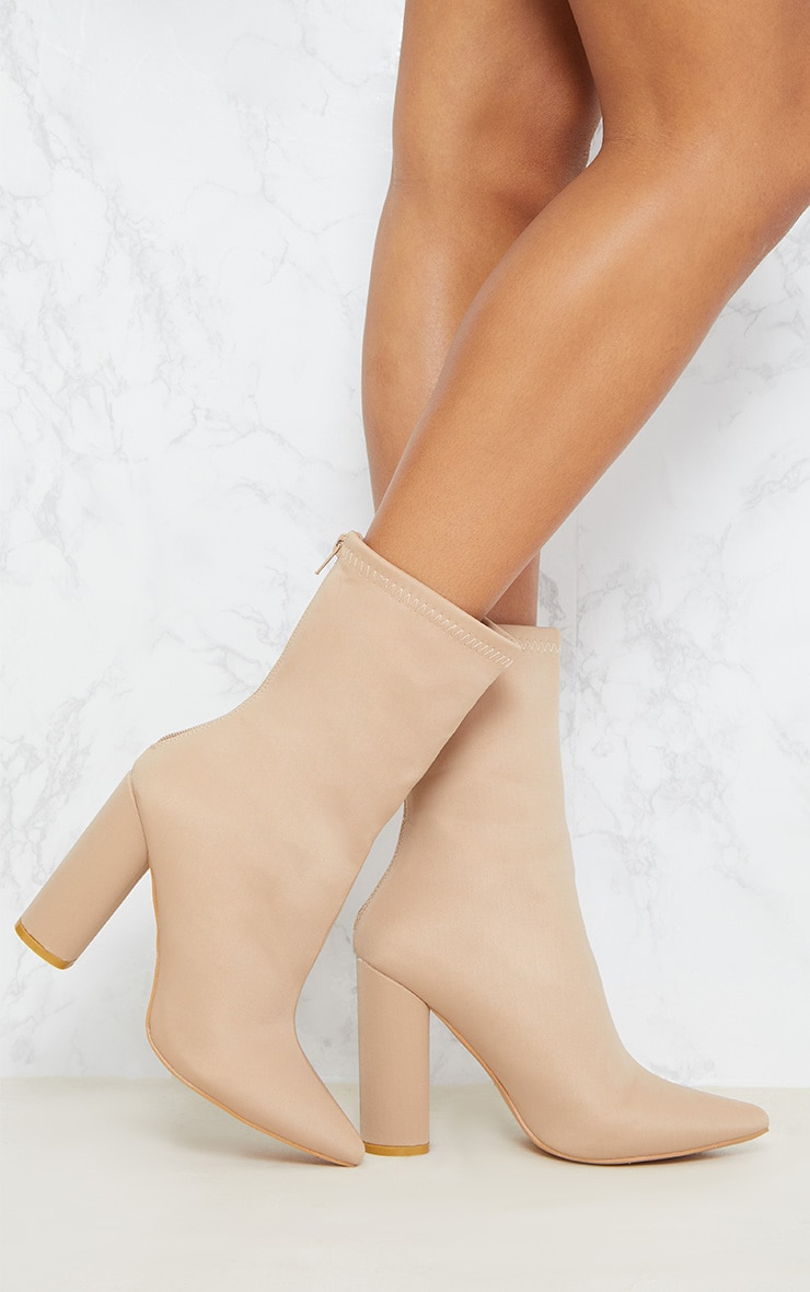 Addie Nude Neoprene Pointed Sock Boots 2