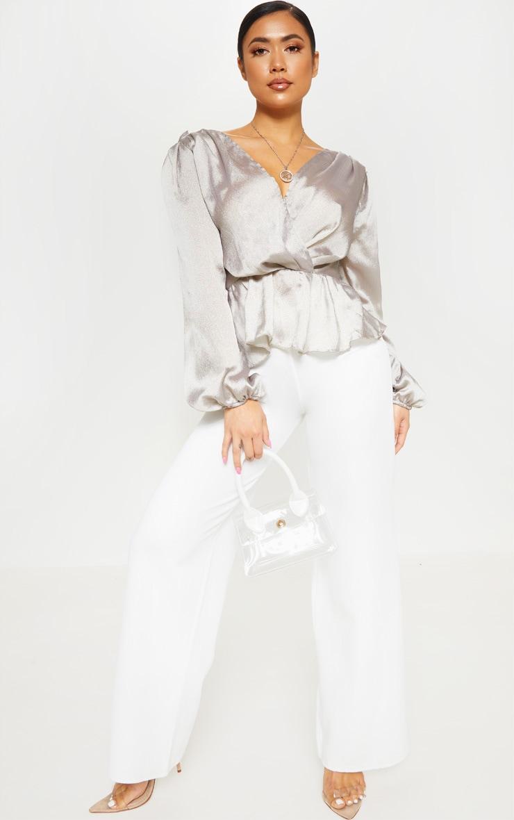 Petite Silver Deep V Wrap Front Long Sleeve Blouse 4