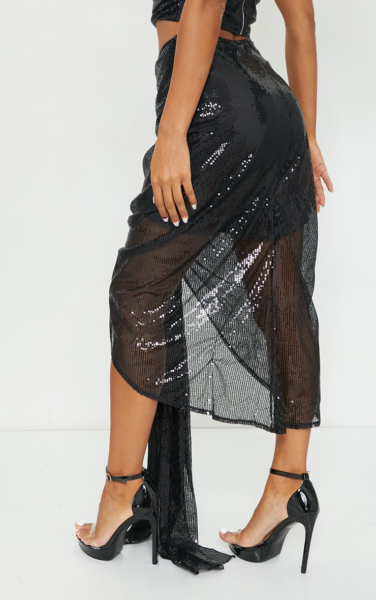 Black Sequin Woven Ruched Side Panel Midi Skirt 3