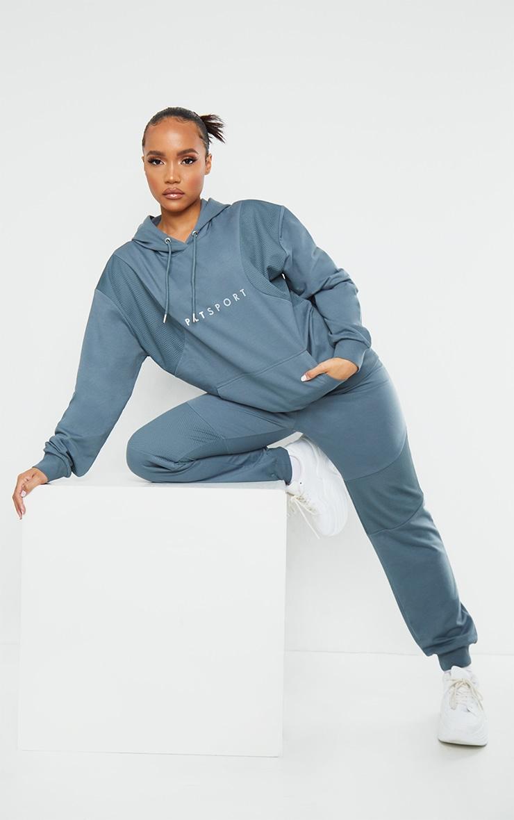 PRETTYLITTLETHING Steel Blue Oversized Mesh Texture Insert Sports Sweater 3