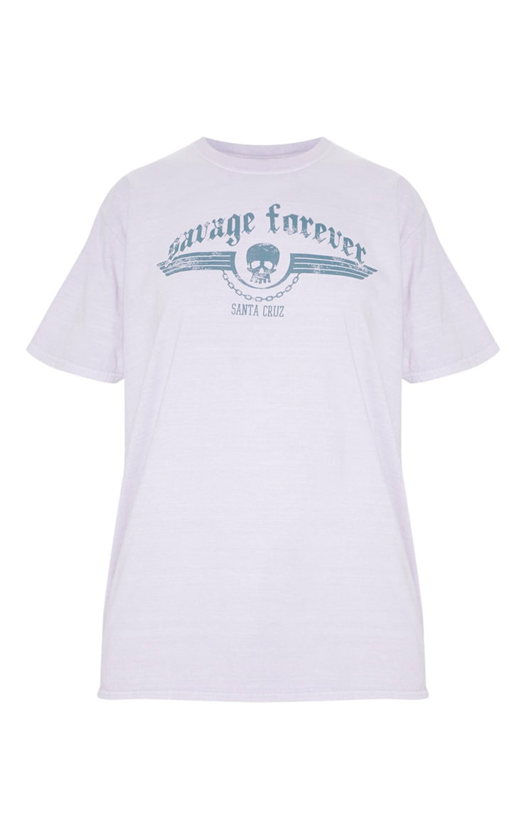 Dusty Lilac Savage Forever Rock Slogan Washed T Shirt 3