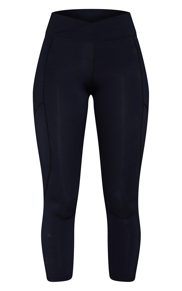 Black Cross Front Waist Pocket Detail Gym Leggings 5
