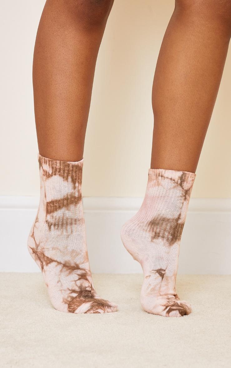 Tan Tie Dye Ribbed Socks 1