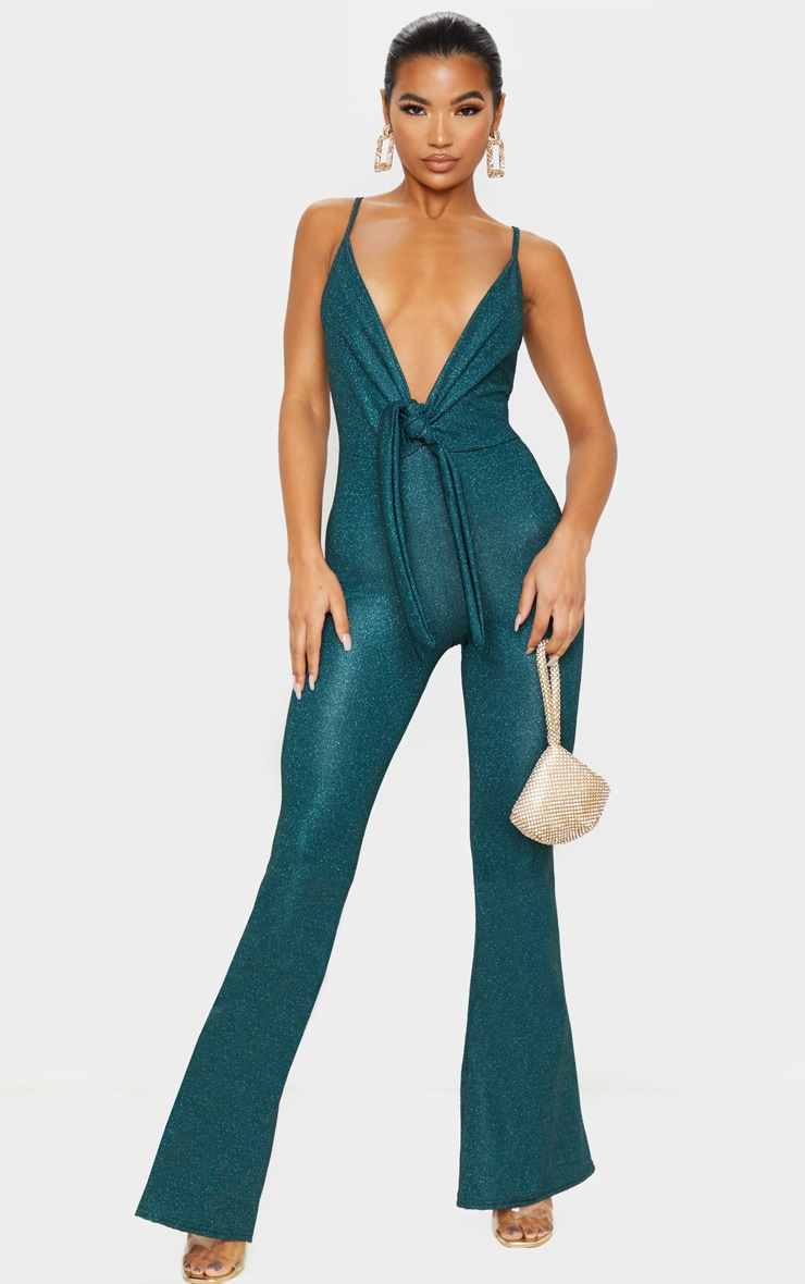 Emerald Green Glitter Knot Front Strappy Jumpsuit 1