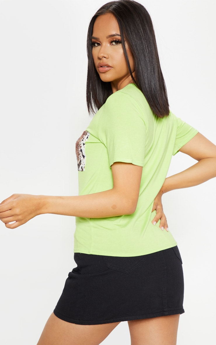 Neon Lime Print Pocket T Shirt 2