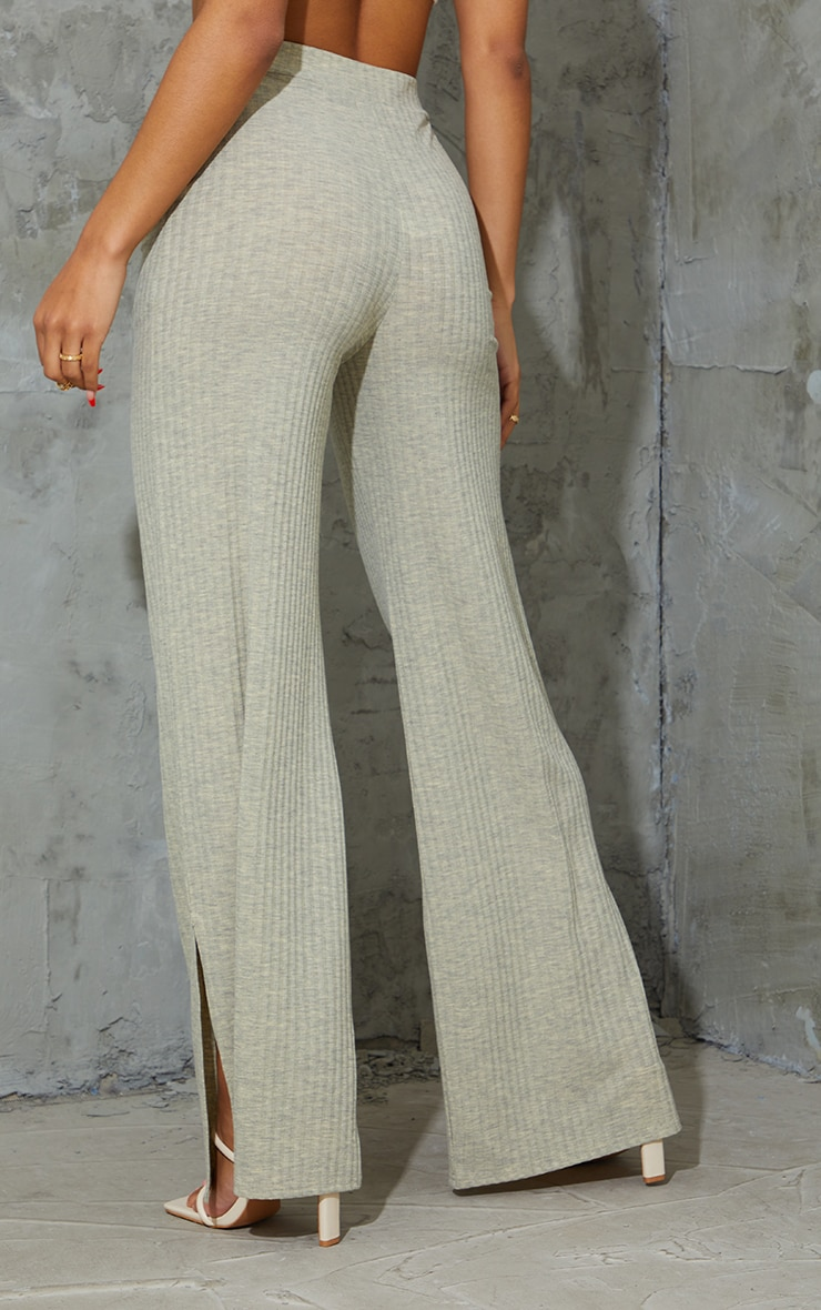 Oatmeal Marl Ribbed Split Hem Wide Leg Pants 3