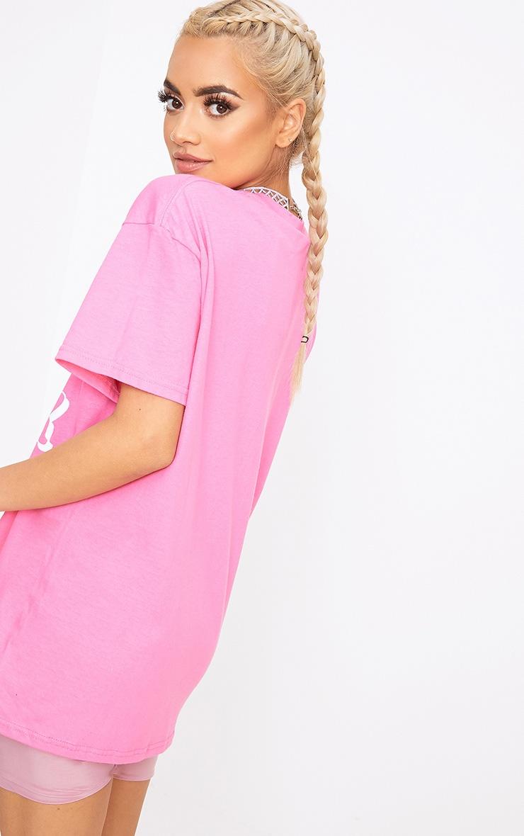 Hot Pink As Luck Slogan T Shirt 2