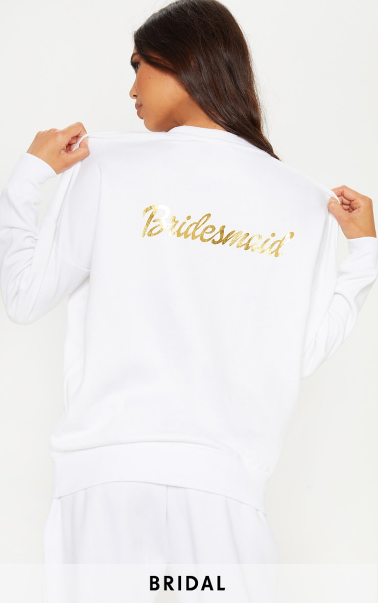 White Bridesmaid Slogan Sweater