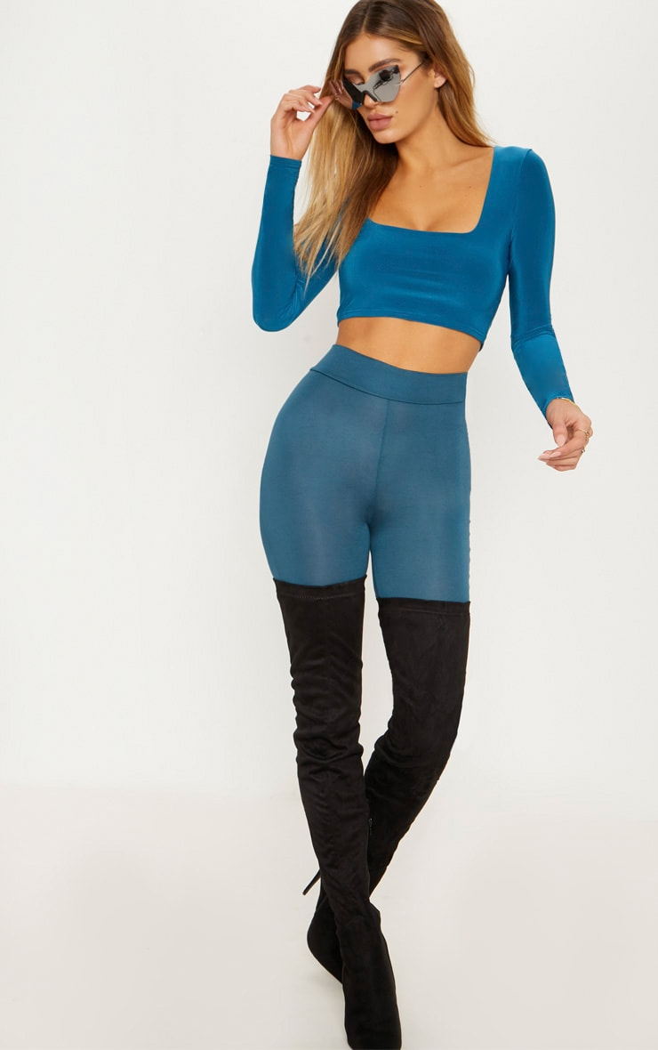 Petrol Blue Second Skin Square Neck Long Sleeve Crop Top  4