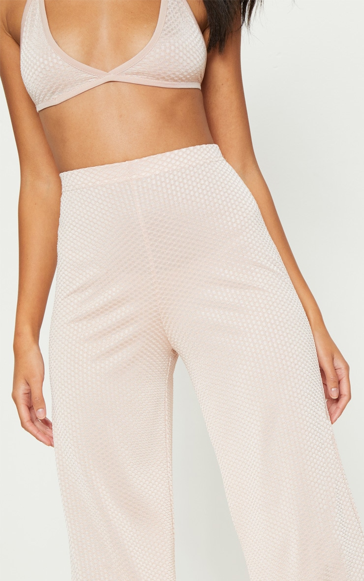 Rose Gold Textured Slinky Wide Leg Trousers 5