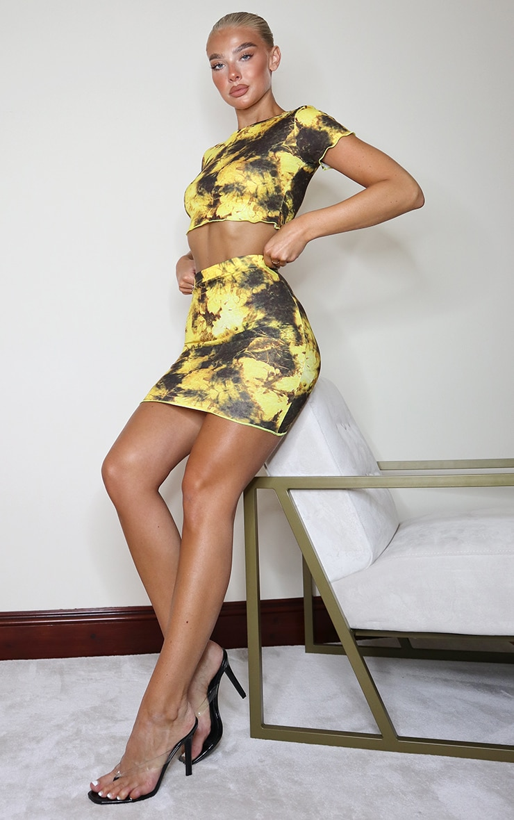 Yellow Tie Dye Print Lettuce Hem Mini Skirt 4