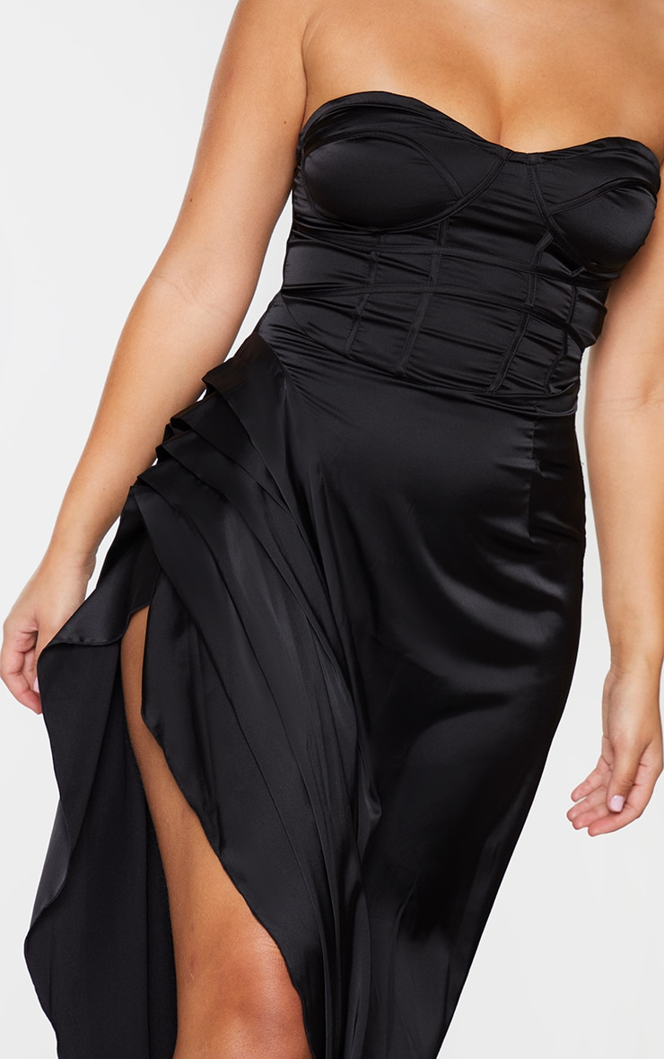 Black Satin Binding Detail Corset Maxi Dress 4