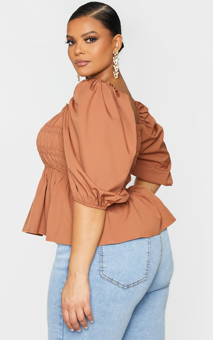 Plus Brown Shirred Puff Sleeve Blouse 2