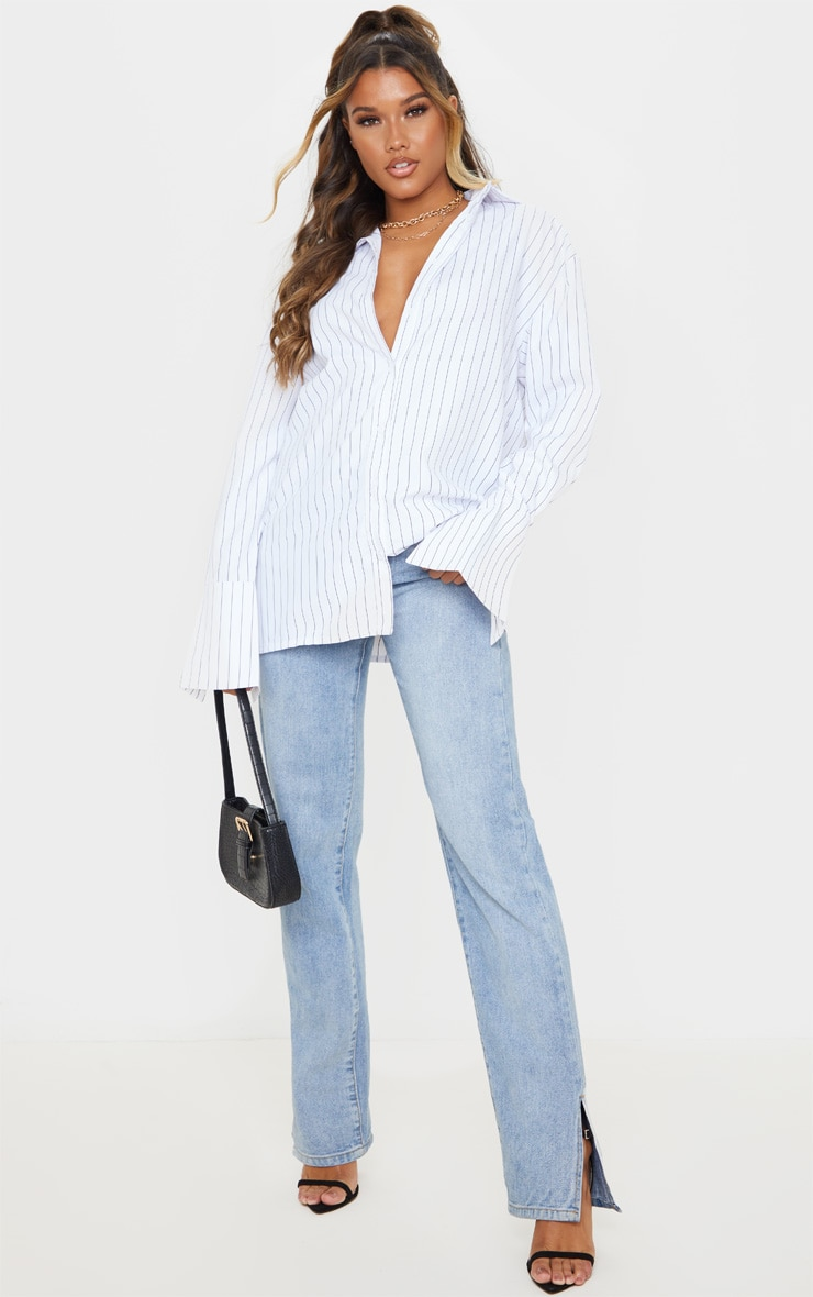 White Pinstripe Oversized Dad Shirt 4