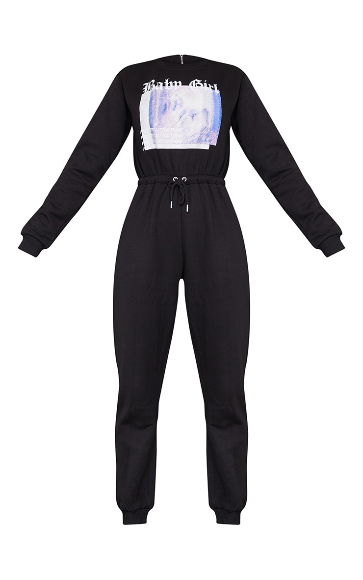 Black Baby Girl Sweat Jumpsuit 5