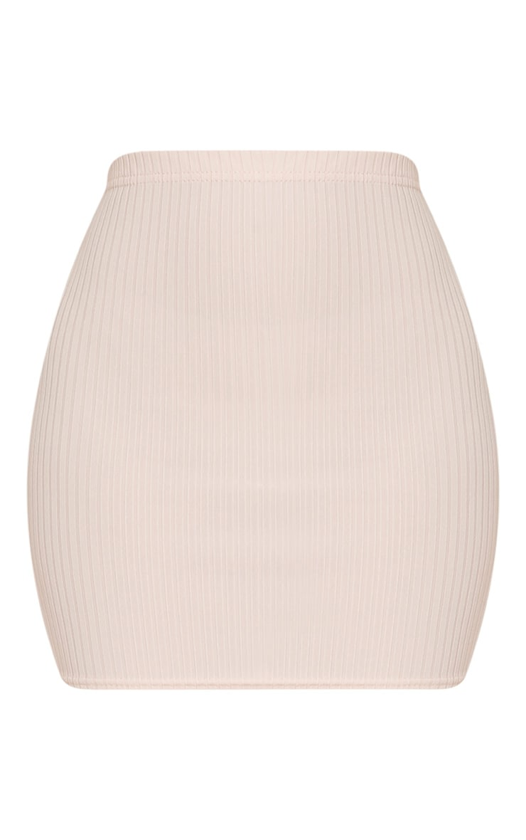 Kristine Nude Ribbed Mini Skirt 3