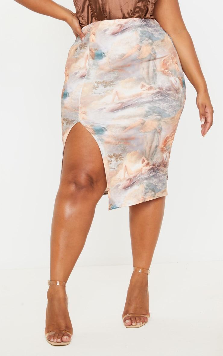 Plus Nude Renaissance Print Split Front Midi Skirt 2