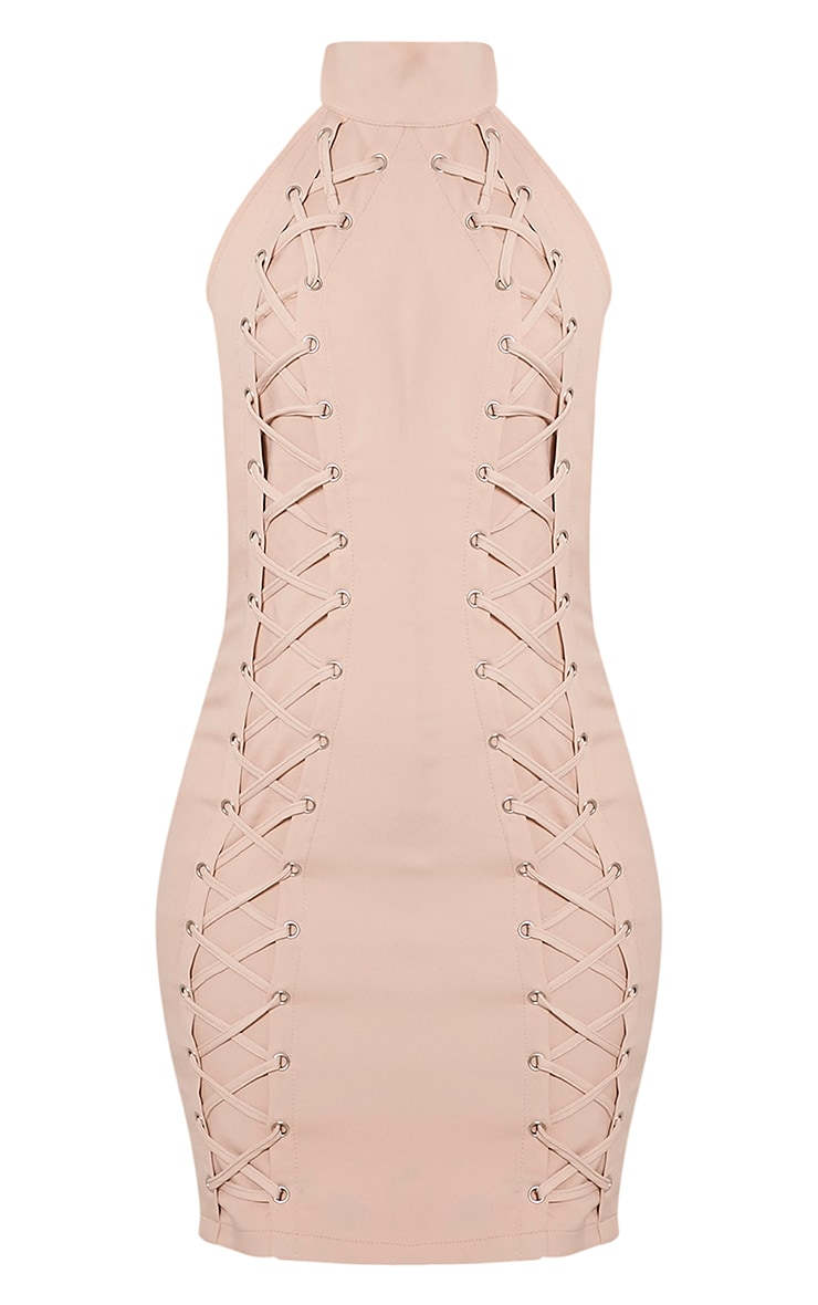 Milla Nude Lace Up High Neck Bodycon Dress 3