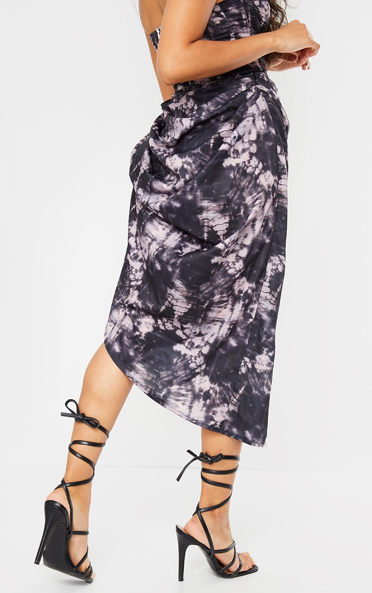 Petite Black Spliced Tie Dye Ruched Side Midi Skirt 3