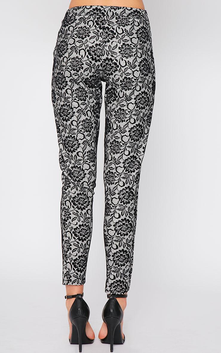 Makya Monochrome Velvet Flocked Print Trouser 2