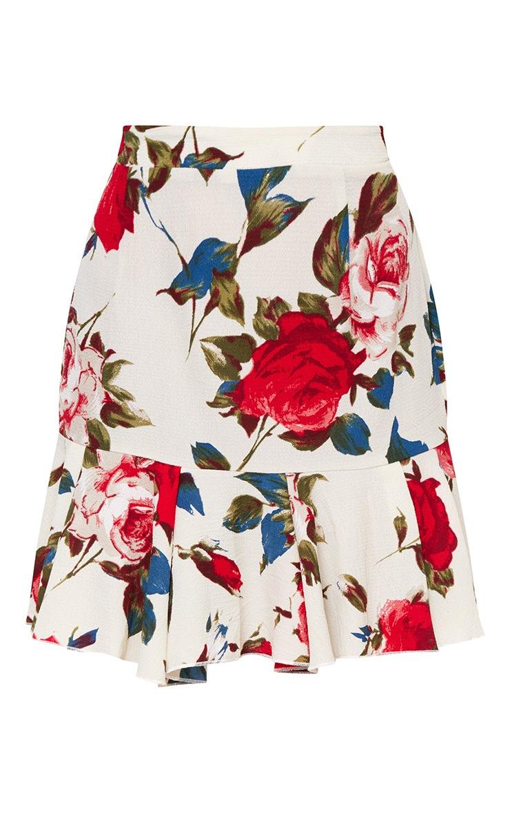 Cream Rose Print Frill Hem Mini Skirt 3