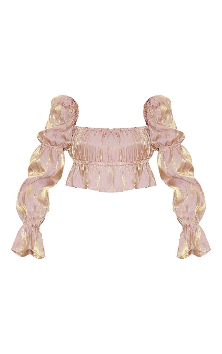 Top court nude métallisé à taille froncée 3