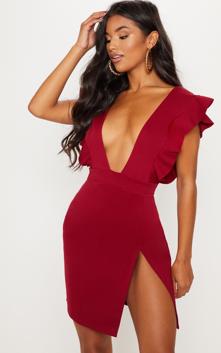 Burgundy Frill Plunge Split Leg Bodycon Dress 1