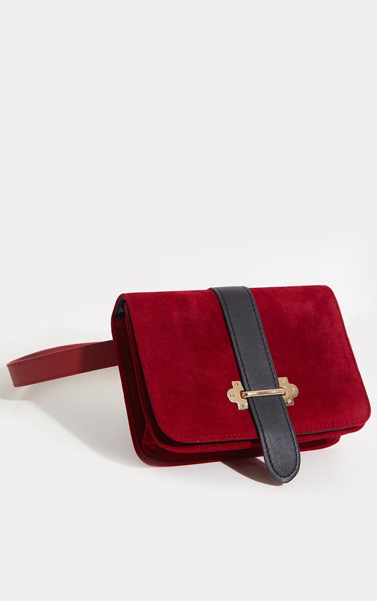 Burgundy Suedette Western Belted Bum Bag  2