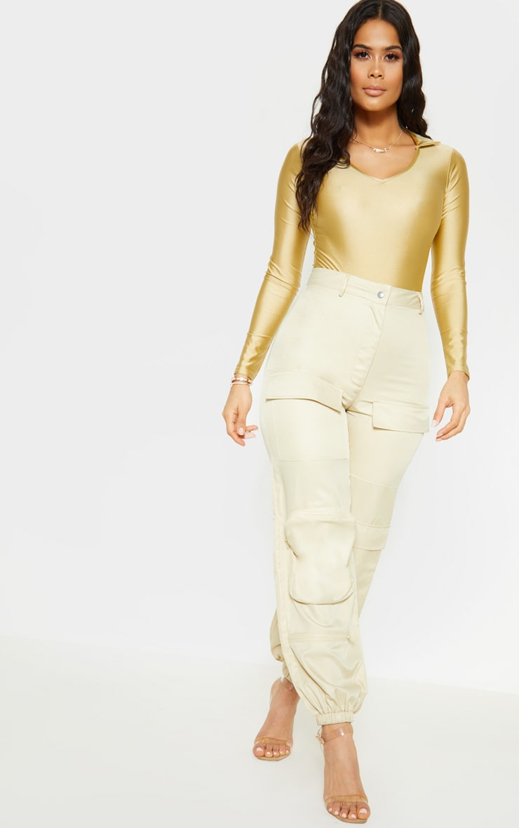 Gold Disco Collar Long Sleeve Bodysuit 5
