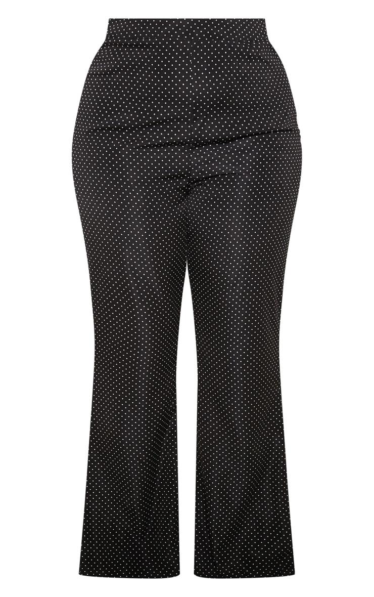 Plus Black Woven Polka Dot Wide Leg Trouser  3
