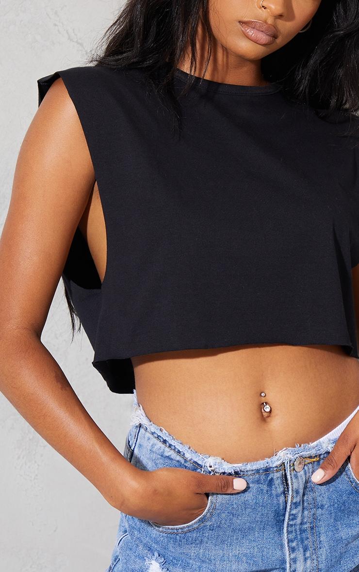 Black Cotton Drop Armhole Crop Vest 4