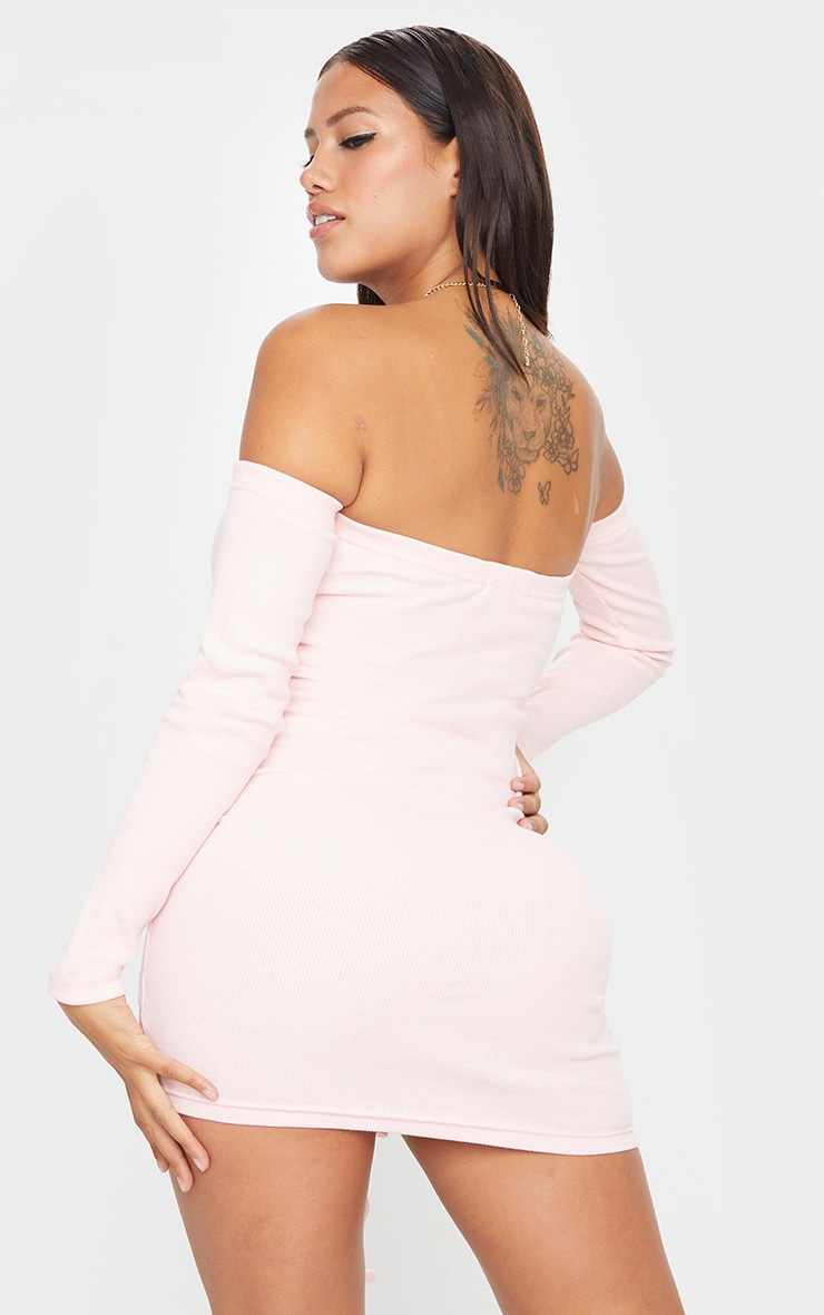 Shape Dusty Pink Thick Rib Bardot Cut Out Ruched Bodycon Dress 2
