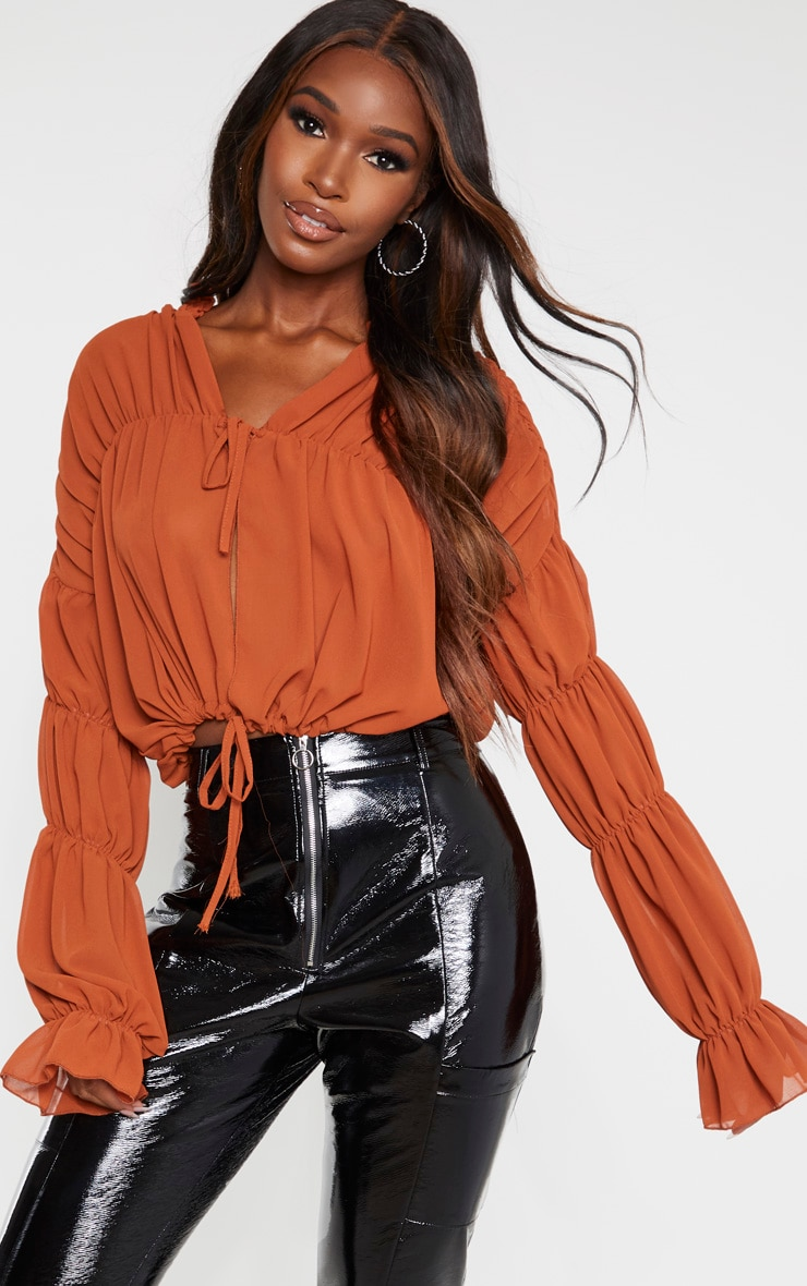Rust Sheer Ruched Tiered Blouse 4