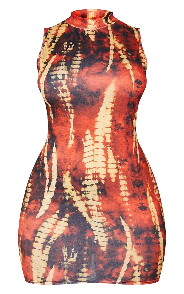 Shape Orange Tie Dye Jersey Sleeveless Bodycon Dress 5