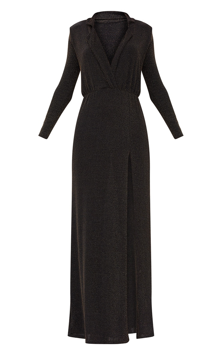 Black Lurex Plunge Long Sleeved Maxi Dress 3