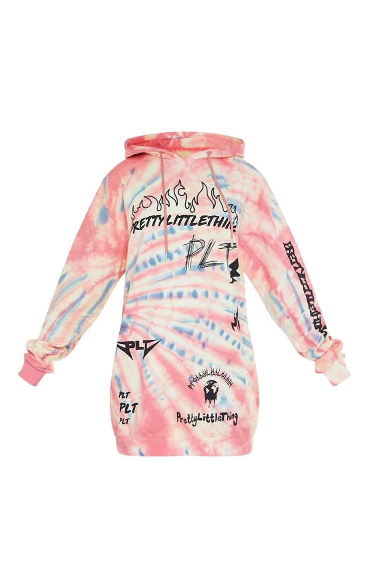 PRETTYLITTLETHING Multi Graphic Tie Dye Sweater Dress 5